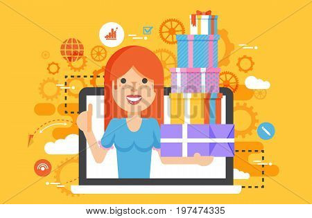 Stock vector illustration woman thumbs up in laptop notebook with lot of shopping packing boxes of gifts design element marketing purchase, sale discount online store flat style yellow background icon