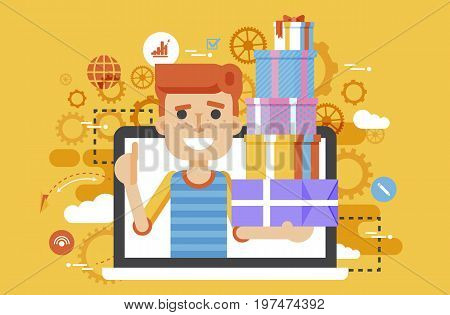 Stock vector illustration man thumbs up in laptop notebook with lot of shopping packing boxes of gifts design element marketing purchase, sale discount online store flat style yellow background icon
