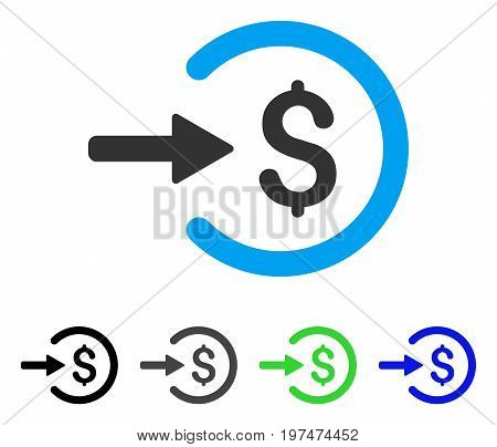 Income flat vector illustration. Colored income gray, black, blue, green pictogram variants. Flat icon style for web design.