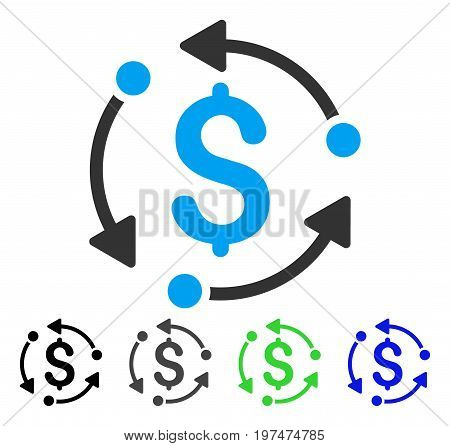 Money Rotation flat vector icon. Colored money rotation gray, black, blue, green pictogram versions. Flat icon style for application design.