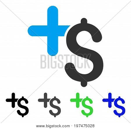 Pay Medicine flat vector pictograph. Colored pay medicine gray, black, blue, green icon variants. Flat icon style for application design.