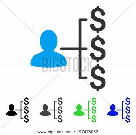 Payer Relations flat vector pictogram. Colored payer relations gray, black, blue, green pictogram variants. Flat icon style for web design.