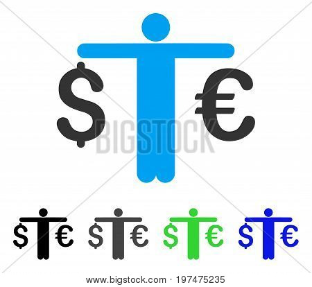Person Compare Euro Dollar flat vector pictogram. Colored person compare euro dollar gray, black, blue, green pictogram variants. Flat icon style for application design.