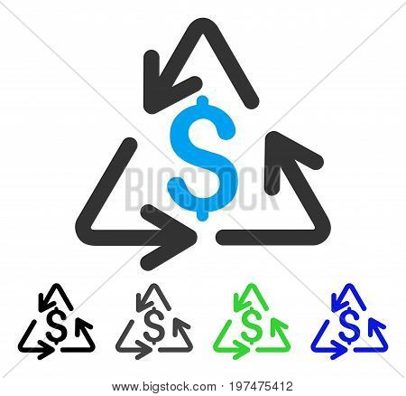 Recycling Cost flat vector pictograph. Colored recycling cost gray, black, blue, green icon versions. Flat icon style for web design.