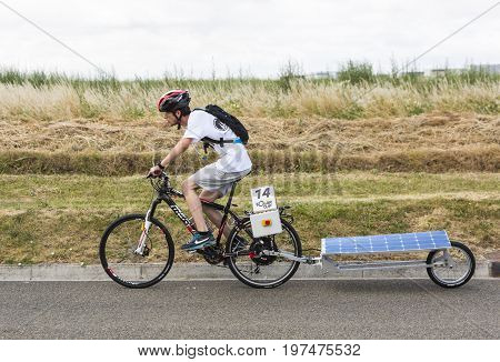Chartres France - 25 June 2017: Solar powered bicycle racing during the 4th edition of Solar Cup. This is a special race for solar powered vehicles and bicycles held each summer in Chartres France.