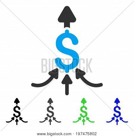 Unite Payments flat vector illustration. Colored unite payments gray, black, blue, green pictogram variants. Flat icon style for graphic design.