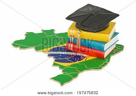 Education in Brazil concept 3D rendering isolated on white background