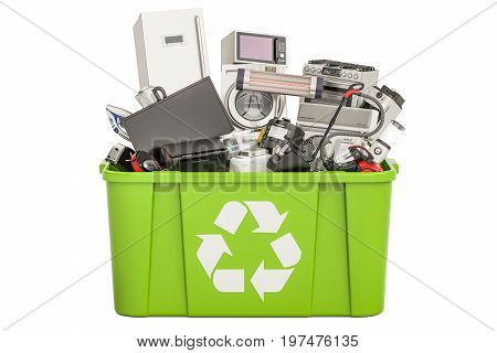 recycling trashcan with household and appliances 3D rendering isolated on white background