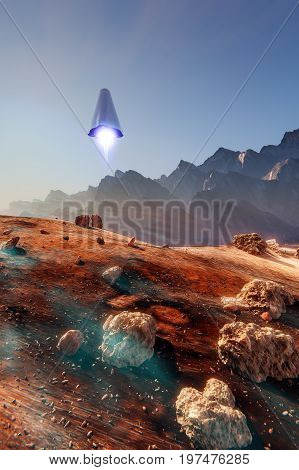 Rocket launch on Mars, Martian landscape meteorites, 3d illustration