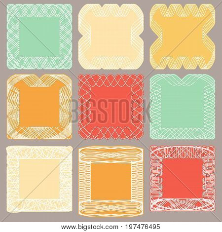Vintage multicolored frames of intertwined lines. Vector illustration