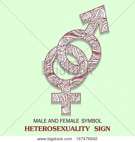 Symbol of Heterosexuality is Interlocked Female and Male Sign with a pattern in tribal Indian style. Vector illustration