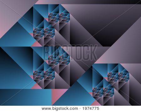 Optical Art Cubist Fractal One Blue Grey And Pink
