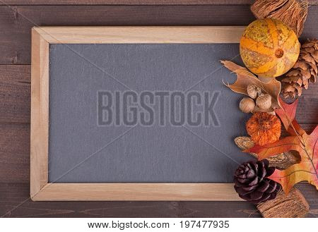 Blank chalk board with colorful autumn objects on a wood surface