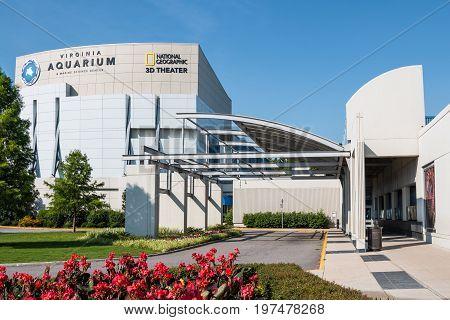 VIRGINIA BEACH, VIRGINIA - JULY 13, 2017:  The Virginia Aquarium & Marine Science Center, with a 3D IMAX theater, aquariums and animal habitats.