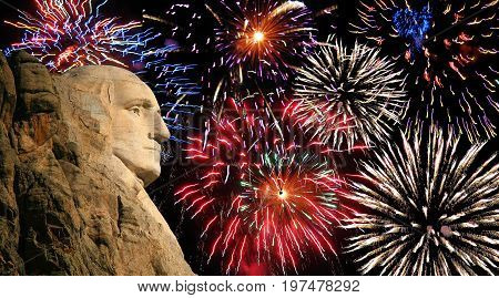 George Washington mount Rushmore silhouette with fireworks background