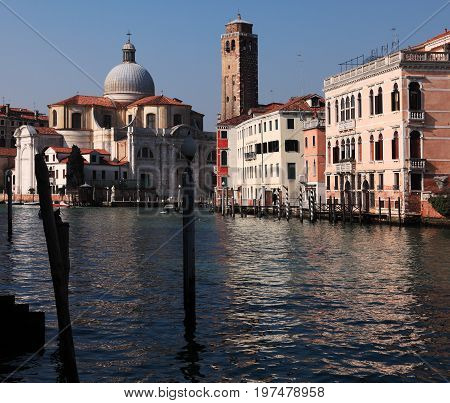 Morning shadows and lights on the Grand Canal the main waterway in VeniceItaly.