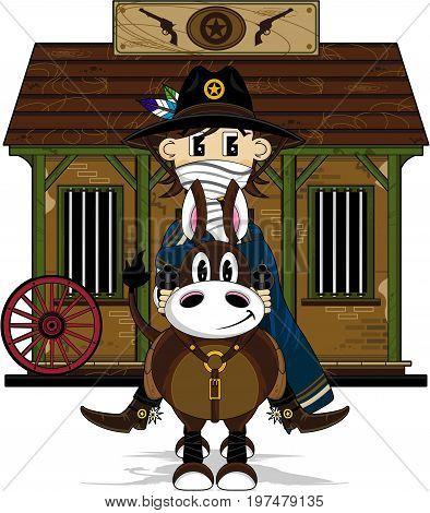 Cute Cartoon Wild West Cowboy on Horse at Jail