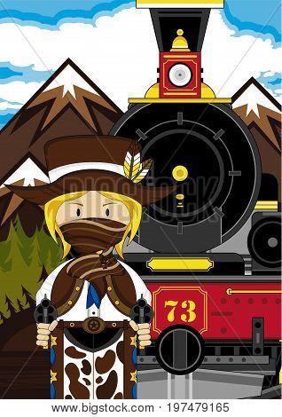 Girl Cowboy Train Scene.eps