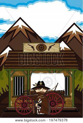 Cute Cowboy, Wagon & Jail
