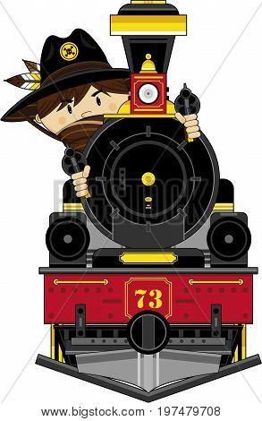 Cute Cowboy On Train.eps