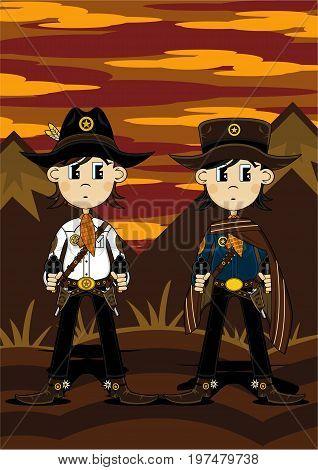 Poncho Cowboys At Sunset