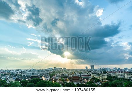 the Top of view skyscraper cityscape with cloudy and raylight. abstract background.
