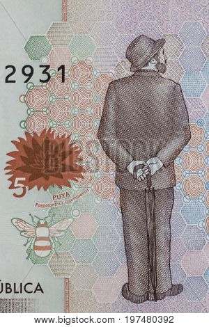 Poet Jose Asuncion Silva on the five thousand Colombian pesos bill