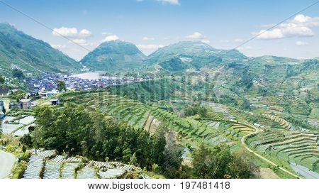Beautiful aerial view of green Dieng plateau farmland with terraced system village and lake. Shot in Dieng Central Java Indonesia