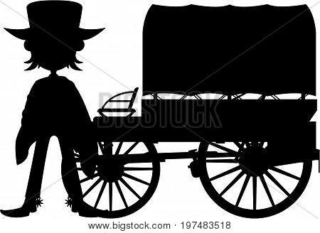 Cowboy & Wagon Silhouette.eps