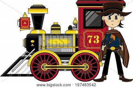 Cartoon Cowboy & Train.eps