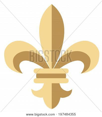 Vector illustration of golden fleur-de-lis flower. Vintage flower for cards wrapping paper textile. Floral classic royal lily.