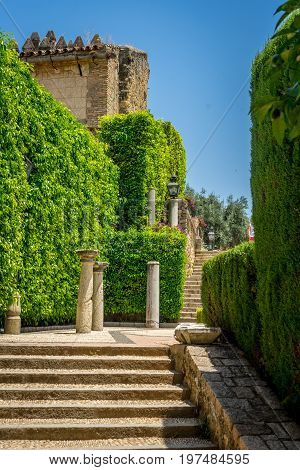 Artful Decorated Steps In The Jardines, Royal Garden Of The Alcazar De Los Reyes Cristianos, Cordoba