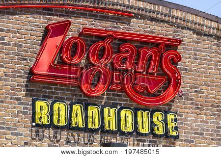 Indianapolis - Circa July 2017: Logan's Roadhouse Restaurant and Signage. Logan's is a leading casual dining steakhouse I