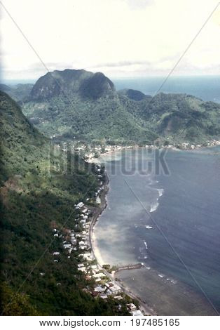 A view of Tutuila Island and Pago Pago Harbor, as seen from the top of Mount Alava, above Pago Pago, in American Samoa.
