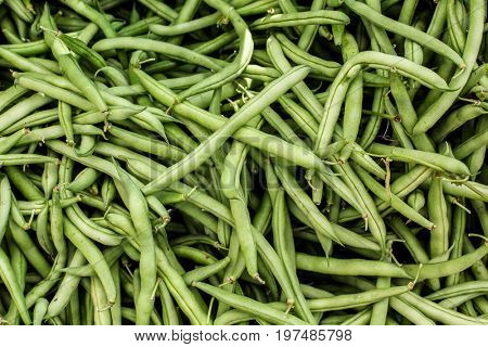 Fresh green beans background from farmers market