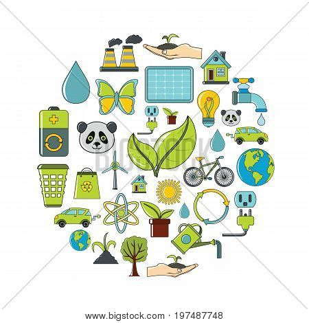 Ecology cartoon icons set. Ecology vector illustration for design and web isolated on white background. Ecology vector object for labels, logos and advertising
