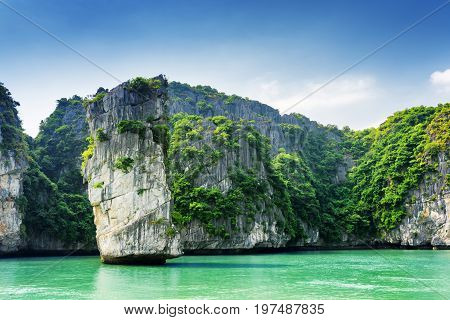 Scenic View Of Rock Pillar And Karst Isles In The Ha Long Bay