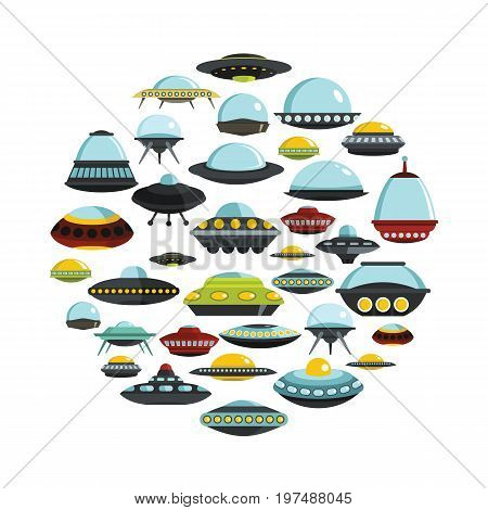 Ufo cartoon icons seton circle. Ufo vector illustration for design and web isolated on white background. Ufo vector object for labels, logos and advertising