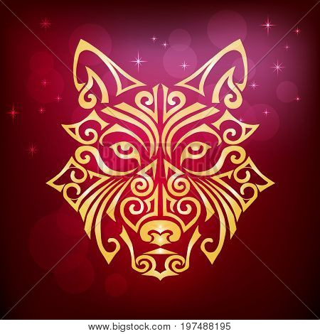 Golden yellow dog's or wolf's head isolated on red background. Symbol of chinese 2018 New Year. Stylized Maori face tattoo. Space Husky dog. Vector illustration