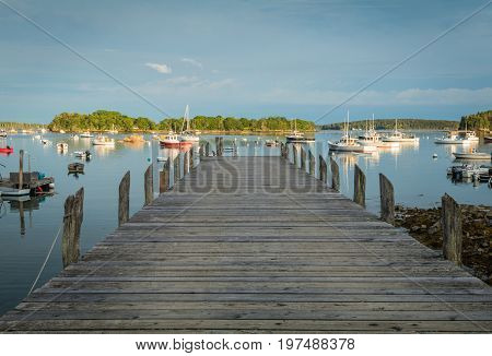 Looking out over the dock into the harbor with lobster boats and buoys