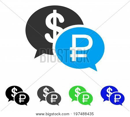 Rouble Dollar Transaction flat vector illustration. Colored rouble dollar transaction gray, black, blue, green icon versions. Flat icon style for web design.