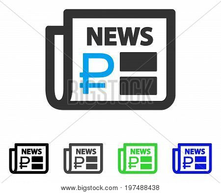 Rouble Financial News flat vector icon. Colored rouble financial news gray, black, blue, green pictogram variants. Flat icon style for graphic design.