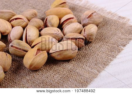 Roasted Pistachio Nuts On Jute Burlap, Healthy Eating