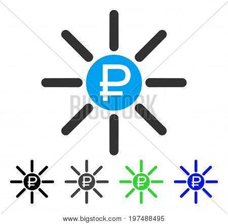 Rouble Source flat vector pictogram. Colored rouble source gray, black, blue, green pictogram versions. Flat icon style for application design.
