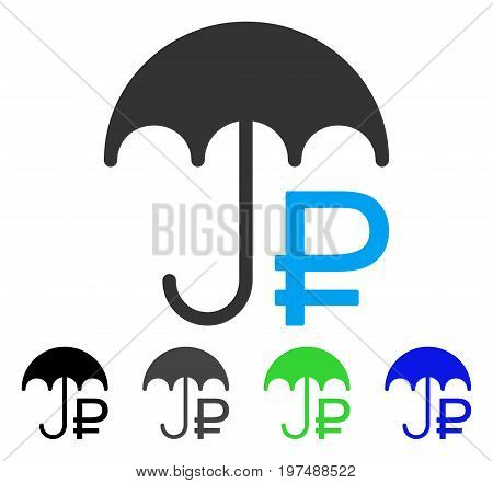 Rouble Umbrella flat vector pictogram. Colored rouble umbrella gray, black, blue, green pictogram variants. Flat icon style for application design. poster