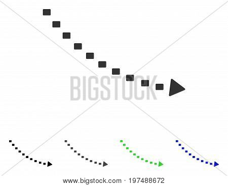 Dotted Decline Trend flat vector icon. Colored dotted decline trend gray, black, blue, green icon versions. Flat icon style for graphic design.