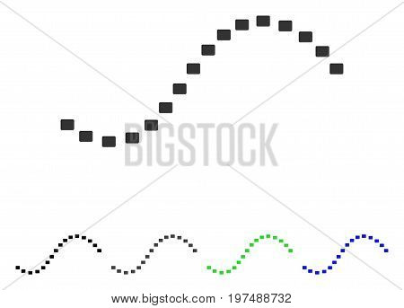 Dotted Function Line flat vector illustration. Colored dotted function line gray, black, blue, green pictogram variants. Flat icon style for web design.