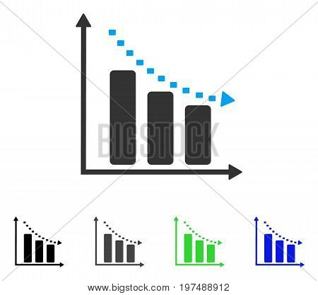Dotted Negative Trend flat vector pictogram. Colored dotted negative trend gray, black, blue, green icon versions. Flat icon style for application design.