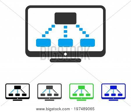 Hierarchy Monitoring flat vector pictograph. Colored hierarchy monitoring gray, black, blue, green pictogram versions. Flat icon style for application design.