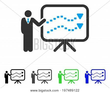 Trends Presentation Teacher flat vector pictograph. Colored trends presentation teacher gray, black, blue, green icon versions. Flat icon style for graphic design.